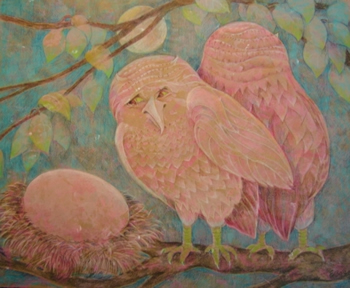 Elizabeth Borne colored pencil drawings at Station Gallery